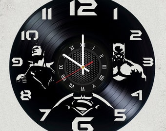 Justice League Superman and Batman 12 inch /30 cm ViNYL WALL ClOCK Dc Comics batman wall gifts for men gift for kids Superman gifts for boys