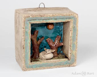 Ceramic Diorama with a story about Fox / Tiny Fox / Small Forest / Unique / Sculpture / 3D Picture / Xmas Gift / OOAK / Framed / Clay (153)