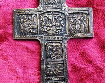 Russian Orthodox Old Brass Cross with biblical scenes