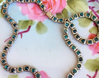 Antique Art Deco Turquoise rhinestone linked Necklace Choker