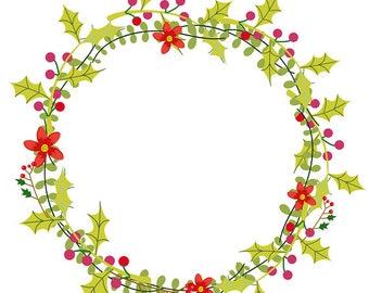 Christmas Wreath Wreath Clipart Holly Clipart Digital Download.