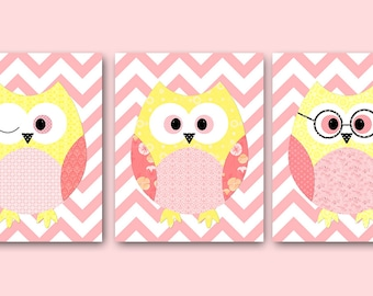 Kids Decor Kids Wall Art Owl Decor Baby Girl Room Decor Baby Girl Nursery Print Baby Girl Nursery Decor Kids Art set of 3 Rose Yellow