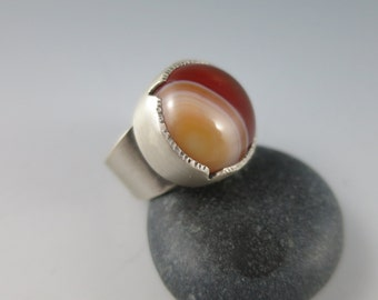 Carnelian Ring, Statement Ring, Big Ring, Size 7.5, Handcrafted Jewelry, Handmade Jewelry
