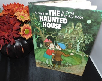 Vintage 1987 A visit to The Haunted House Troll pop up Book Hallmark HC hardcover