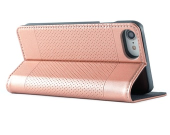 iPhone 8 Plus Wallet Case Leather, iPhone 7 Plus Wallet Case Magnetic for women Rose Gold iPhone X/10 Folio Case