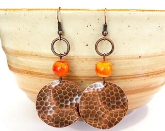 copper dangle earrings, textured copper earrings, hammered copper earrings, jewelry handmade, earrings handmade, copper beaded earrings