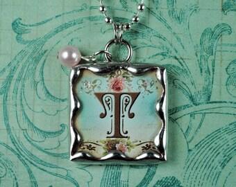 Aqua Initial Necklace Personalized Jewelry Swarovski Birthstone Pendant