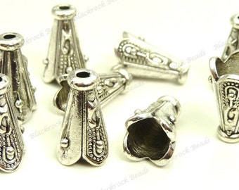 Bulk 30 Bead Cap Cones 12x7mm Antique Silver Tone Metal - Carved Pattern, Scalloped Edges - BC33