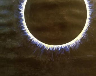 Totality.2017 Eclipse Original 18x24 Acrylic Painting Art Nature Sky Sun Moon Yin Yang Tranquility
