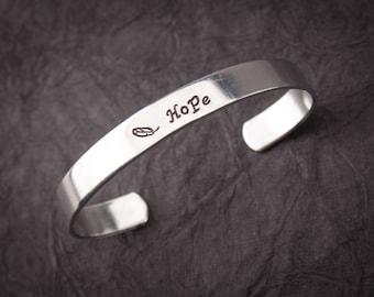 "Customized ""Hope"" cuff bracelet, mom bracelet, grandma bracelet"