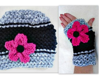 Knit Hat and Fingerless Gloves, KNITTING PATTERN # 925, Texting Gloves,  Flower pattern also included, age 5 to Adult, for girls and women