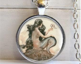 Mermaid Necklace, Art Pendant, Mermaid Pendant, Vintage Art Necklace