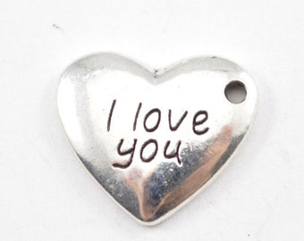 10pcs - 17mm x 15mm Silver Heart Charm - I Love You Heart - Pendant - Charm - Findings - Supplies - B11