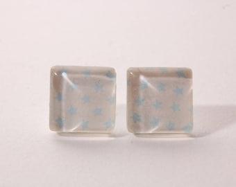Star earrings sky blue, white, square shape