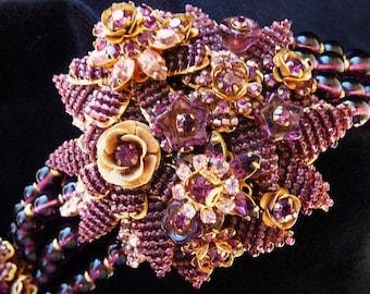 Stanley Hagler Ian St. Gielar bracelet | deep purple gold | vintage high fashion | handmade big bold bracelet | faux amethyst beads