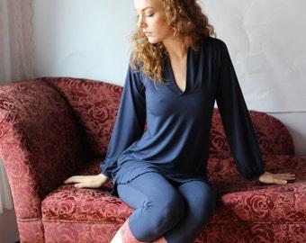 bamboo sleepwear tunic with bishop sleeve - CATHEDRAL sleepwear range - made to order