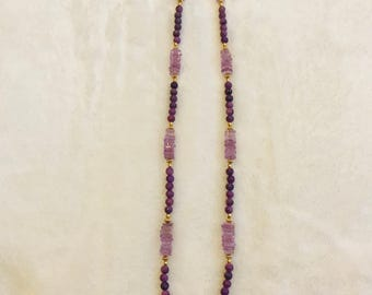 Lavendar amethyst with charoite gemstones and gold artist necklace