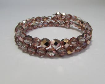 Small to Medium Size Memory Wire Bracelet with copper colored Czech glass beads, Handmade beaded wrap bracelet