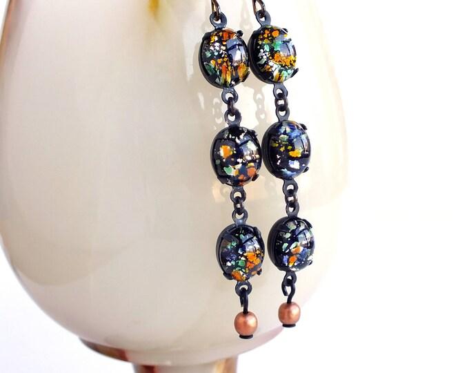 Multi Colored Glass Dangle Earrings Vintage Foiled Lampwork Cabochon Dangles Long Black Glass Dangle Earrings