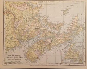 1897 Map of New Brunswick, Nova Scotia & Quebec, Original Double Sided Vintage Map, Antique Color Map