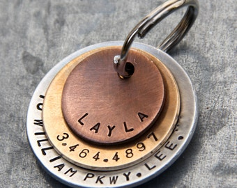Custom Dog Tag / Pet ID Tag - Layla - in Mixed Metal (Copper, Bronze, Aluminum)