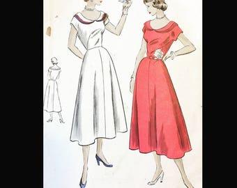 Vintage 50s Full Skirt Sabrina Wide Triple Peter Pan Neckline Fit N Flair Day Dress Vogue EASY Sewing Pattern 3281 B29