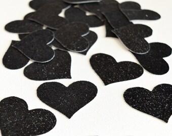 Black Glitter Hearts - Glitter Wedding Decor- Black Hearts Confetti - Glitter Party Decor - Hearts Table Scatter - Confetti Hearts
