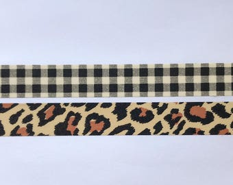 "Plaid and Leopard Print Washi Tape 24"" Sample Set - Bobbins - The Paper Studio"