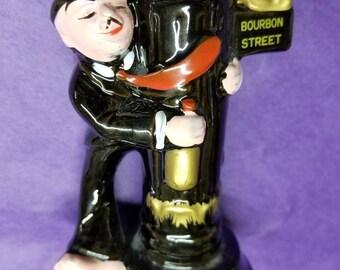 Vintage Ceramic Bourbon Street New Orleans Figural Oil Lamp, NOLA Souvenir