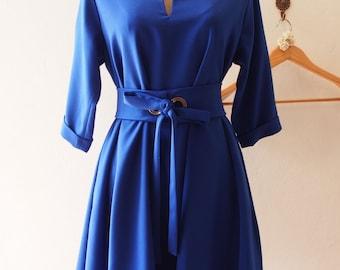 SALE  Elbow Sleeve Dress, Pockets Dress, Plus Size Dress, Bright Royal Blue Loose Dress, Maternity Dress, Midi Dress - XS-XL,Custom