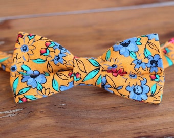 Men's orange floral bow tie, mens red blue flowers cotton bowtie, teen boy tie, wedding bow tie, father's day bow tie, boyfriend gift, tie