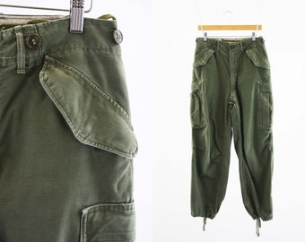 Reserved For CINDY: 31 X 29 Vintage Olive Green Air Force Military High Waist Baggy Fit Cinched bottom UNISEX Relaxed Cargo Pants