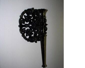 Dramatic Black Vintage Homco Paris Inspired Fleur de Lis Candle Sconces