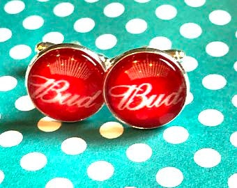 Bud Beer cabochon cufflinks - 16mm