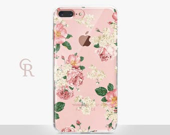 Floral iPhone 8 Plus Clear Case For iPhone 8 iPhone 8 Plus - iPhone X - iPhone 7 Plus - iPhone 6 - iPhone 6S - iPhone SE - Samsung S8