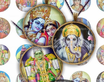 India Gods 1 Inch Circles Inchies Asia Jewelry Pendants Bezels Bottle Caps Buttons Badges Magnets Digital Collage Sheet Download 188