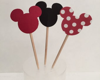 Mickey Mouse Cupcake Topper Flags - Set of 12 - Decorative Toothpicks