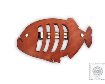 Leather hair accessories. Hair accessories. Leather barrette. Unusual hair barrette. Barrette fish of leather.