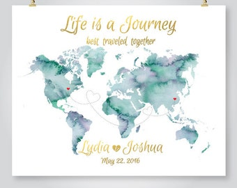 Wedding guest book watercolor world map custom color add personalized map wedding guest book watercolor world map anniversary save the date engagement gift printable digital gumiabroncs Gallery