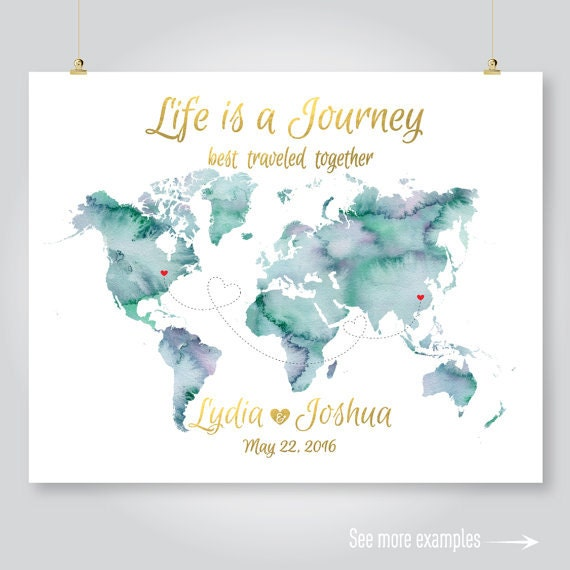 Personalized map wedding guest book watercolor world map personalized map wedding guest book watercolor world map anniversary save the date engagement gift printable digital art print jpeg pdf gumiabroncs Gallery