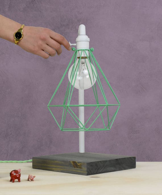 CAGE ONLY Hemelli Diamond Lamp Shade Pendant Lamp Pendant Light Cage Bulb  Guard Lighting, Brass, Copper, Mint Turquoise, White Or Black
