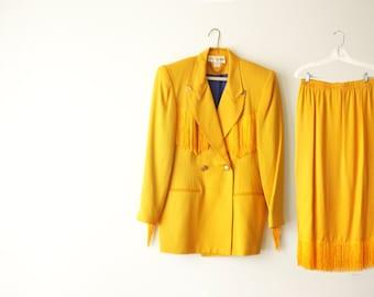 VINTAGE EXIT SHOPS | women's suit | jacket and skirt | 1980's | yellow suit | yellow jacket | yellow skirt | Fringe Jacket | Size M |