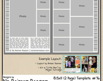 8.5x11 Digital Scrapbooking Template (2 Page Scrapbook Layout) #76