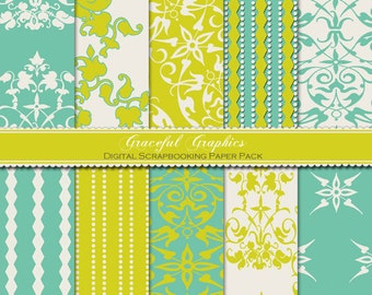 Scrapbook Paper Pack Digital Scrapbooking Background Papers Pack RETRO Garden FUNKY Green Gold Teal 10 Sheets 8.5 x 11 No. 1007gg