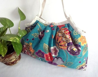 FREE SHIPPING Japanese Kimono Pattern Granny bag purse turquoise mari-ball