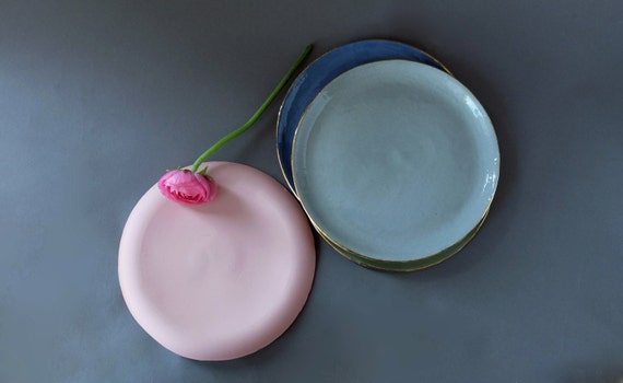 Like this item? & Pink dishes Green plates Blue plates Gray pottery plate