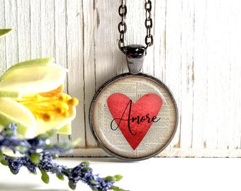Round Medium Glass Bubble Pendant Necklace- Amore On Red Heart Book Page