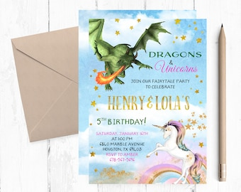 Dragons Unicorns Birthday Invites, Joint Magical Invitation, Joint Dragons Birthday Invitation, Joint Unicorn Birthday Invitation,