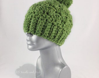 Green Crochet Beanie with Pom, Chunky Crochet Hat, Warm Winter Beanie With Puff, Pom Pom Knit Hat, Ski Cap