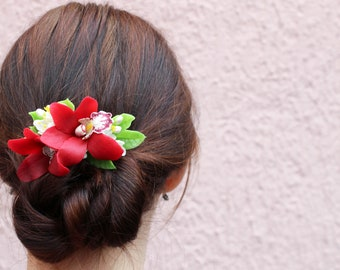 Red wedding hair accessory Red orchid hair clip Floral hair piece Red hair flower Bridal hairpiece Red flower hair clip Beach wedding hair